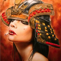 THE-LAST-SAMURAI-18-x-24-Viveros-oilmixed-media-on-maple