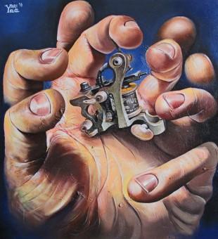 Iron Hand-olio su tela-50x54cm
