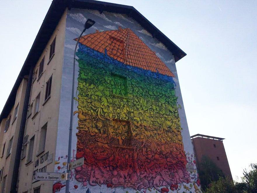 Blu e la lotta per il diritto alla casa: un murales a Bergamo